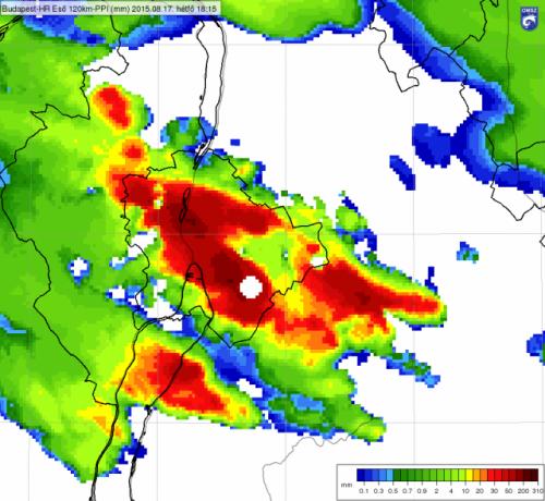 A Budapesten hétfőn 18.15 és 20.15 óra között a radar mérések alapján becsült csapadék mennyisége