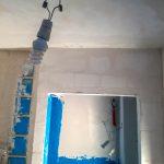 Az üvegtéglasor teteje a fal síkjánál kijjebb állt, kértük, hogy hozzák ezzel egy síkba a falat
