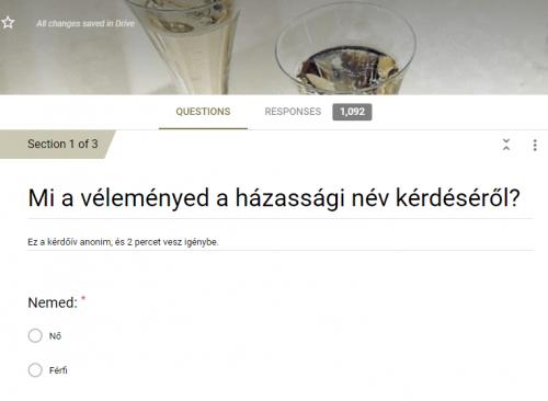 A válaszolókat gyöngyöző pezsgővel várta a Google form