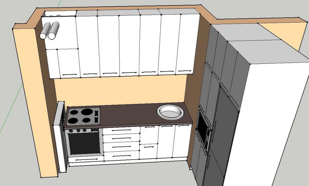 A terv alapján a felsőszekrény eltakarná a csöveket (Kincsem bútor terve)