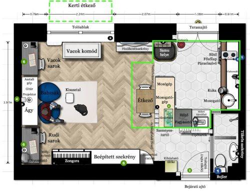 28 négyzetméterből ~9 nm a konyha: a lakás harmada